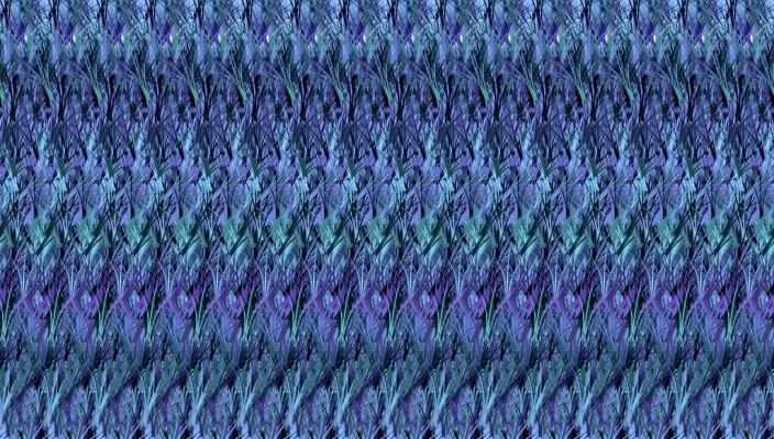 Motif abstrait et répétitif dit d'herbe bleue, utilisé pour des illusions d'optiques en trois D