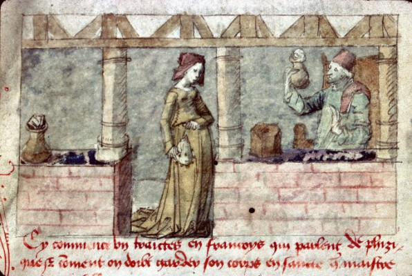 Enluminure représentant un apothicaire en France (XV° siècle)