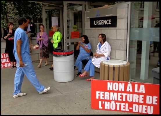 Manifestation à l'hopital public de Montreal