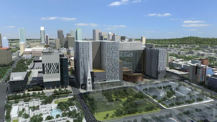 Les bâtiments du Centre Hospitalier et Universitaire de Montreal