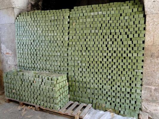 Murs de savons d'Alep en fin de séchage