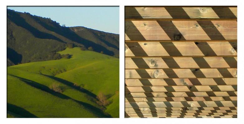 Photo de colline au soleil, avec des ombres, et photo de planches où des ombres forment un cadrillage
