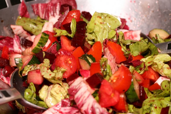 Salade verte et rouge