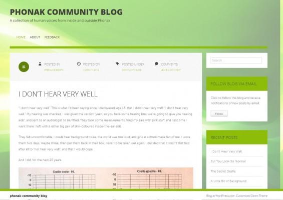 Screen shot de la page d'accueil du blog PHonak