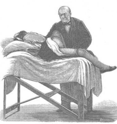 Gravure montrant une femme sur un lit d'examen.