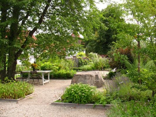 Un jardin avec les carrés d'herbes médicinales